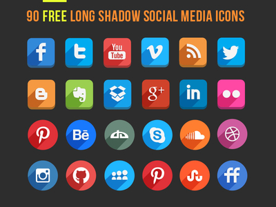 Long Shadow Icons (Free PSD)
