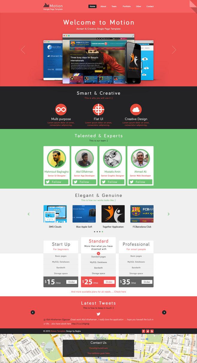 Motion single page PSD web template