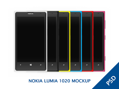 Nokia Lumia 1020 Colorful MOCKUP