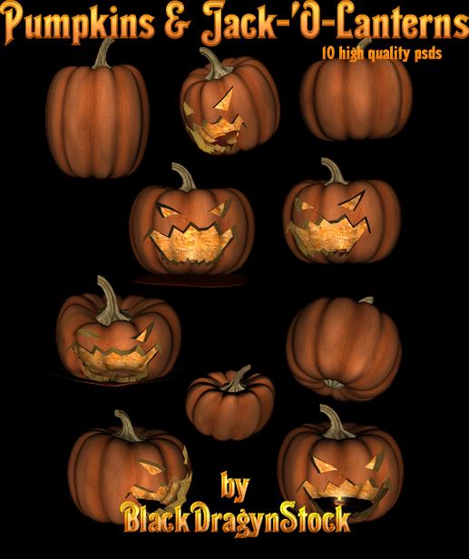 Pumpkin and Jack-O-Lanterns psd