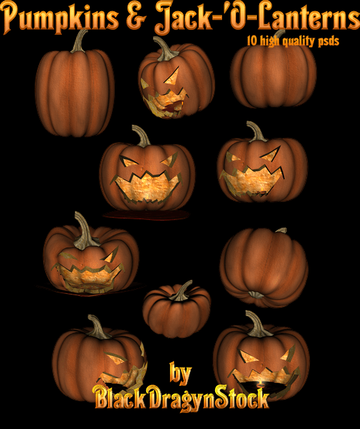 Pumpkin and Jack-O-Lanterns psd