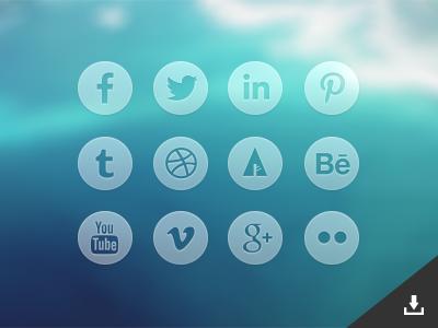 Round Transparent Social Media Icons (Psd)