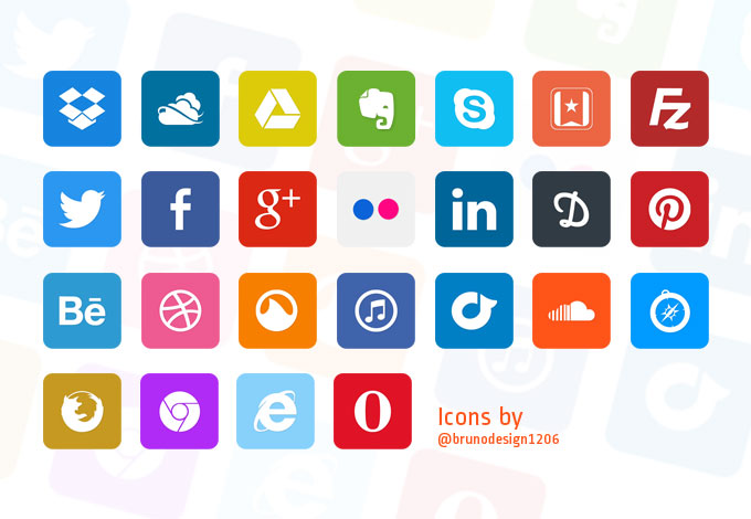 Simple Flat Icons Pack PSD