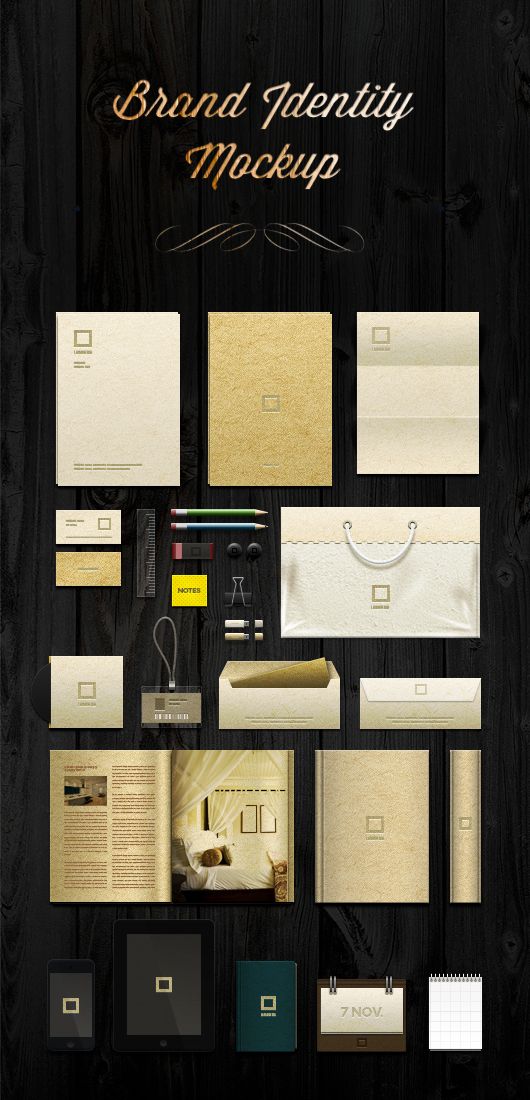 A psd layered vector based brand identity mock-up to present your identity and logo design.