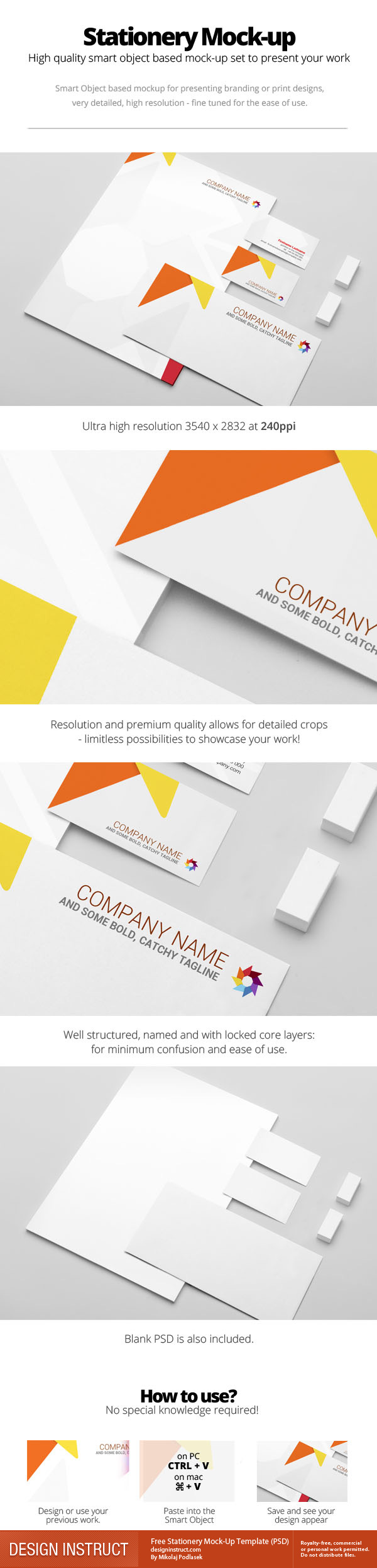 Free Stationery Mock-Up Template (PSD)