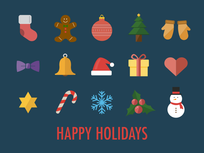 15 Flat Christmas Icons Vector