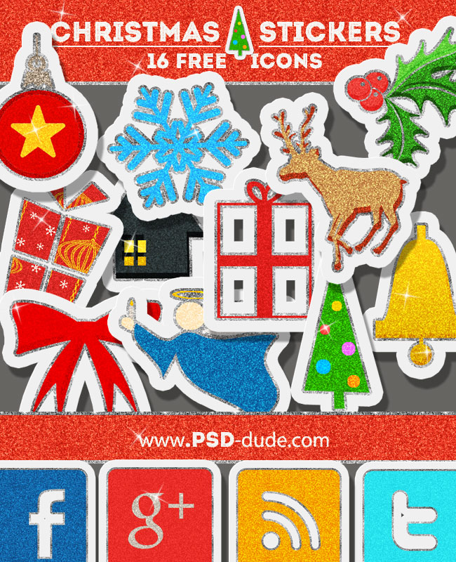 Free Christmas Glitter Sticker Icons