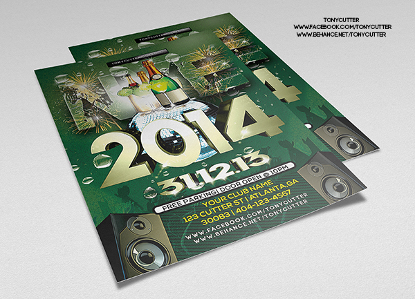 Free Happy New Year PSD Party Flyer Template