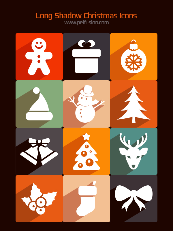 Free Long Shadow Christmas Icons