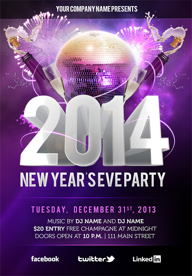 Free New Year & Eve Patry (NYE) 2014 Photoshop (PSD) Flyer Template