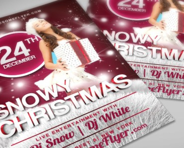 Free Snowy Christmas PSD Flyer Template