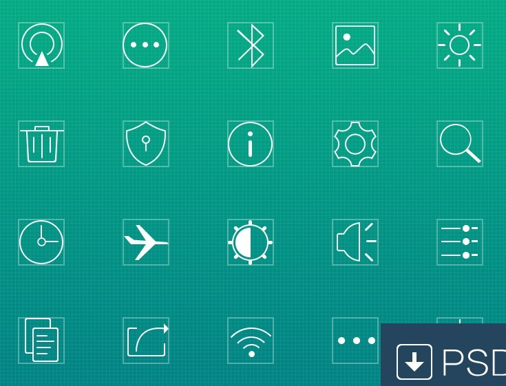 Thin Line Square Web Icons PSD