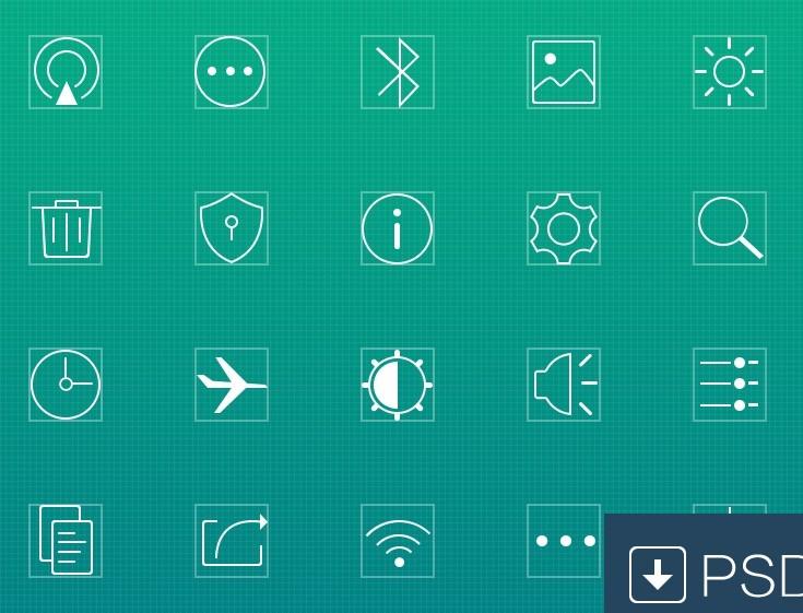 Thin Line Square Web Icons PSD
