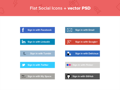 Flat Social media Icons + Vector PSD