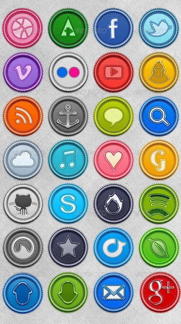 Amazing Stitched Social Media Badges Set