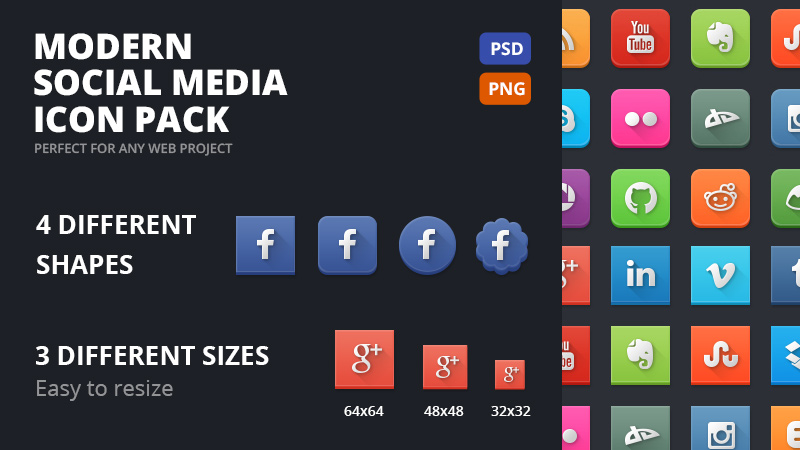 Modern Social Media Icons for your collection