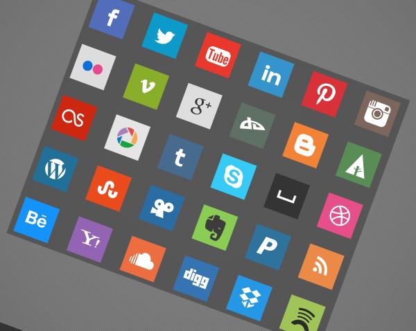 30 flat social icons