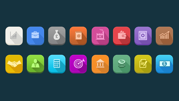 Long Shadow Business Icons