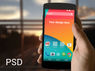 Nexus 5 in hand template