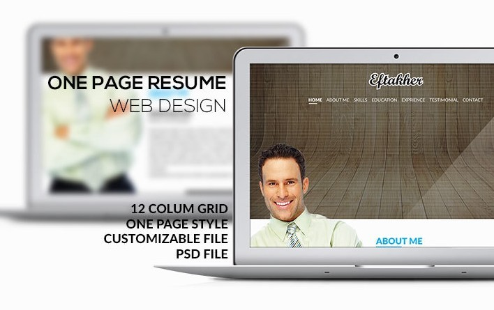 One Page Resume Web Design