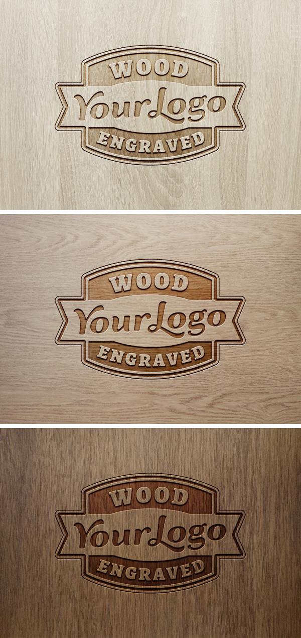 Wood Engraved Logo MockUp 2