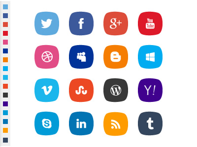 PSD social icons with original colors