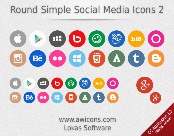 Round Simple Social Media Icons 2