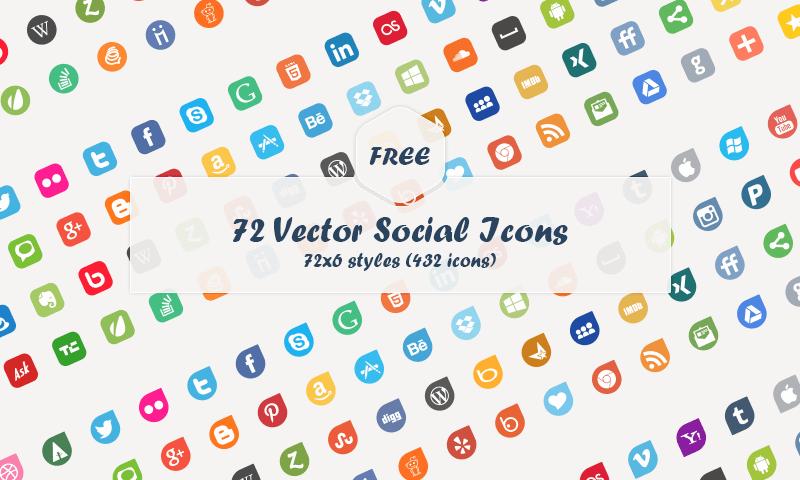 72 Vector Social Media Icons