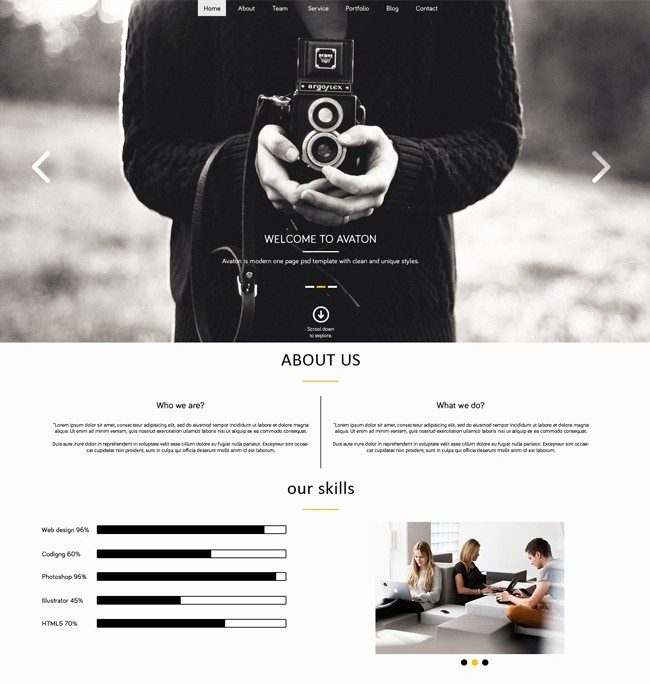 AVATON - free One Page PSD download