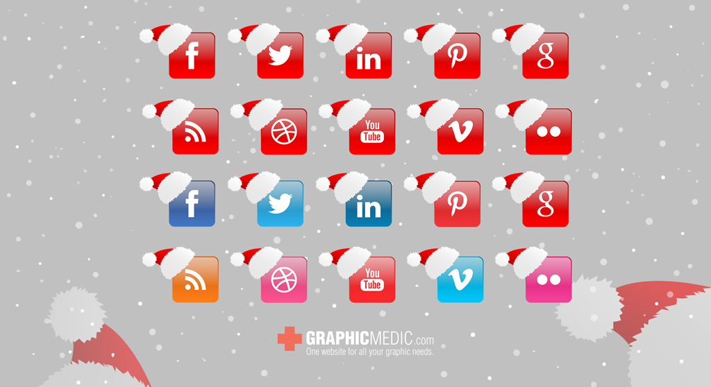 Christmas Vector Social Icons Set