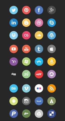 FLAT SOCIAL ICONS CSS3