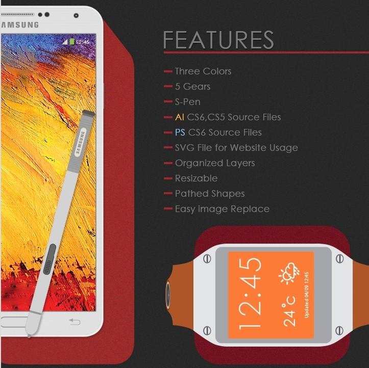 Galaxy Note 3 + Gear Free Mock-Up