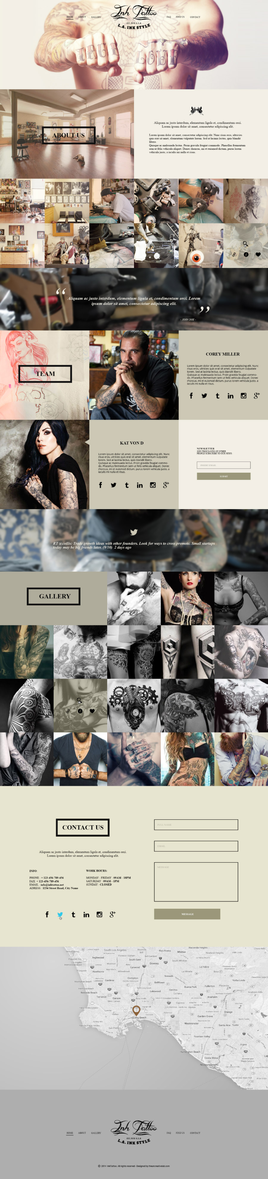 InkTattoo - Free Psd One Page Template