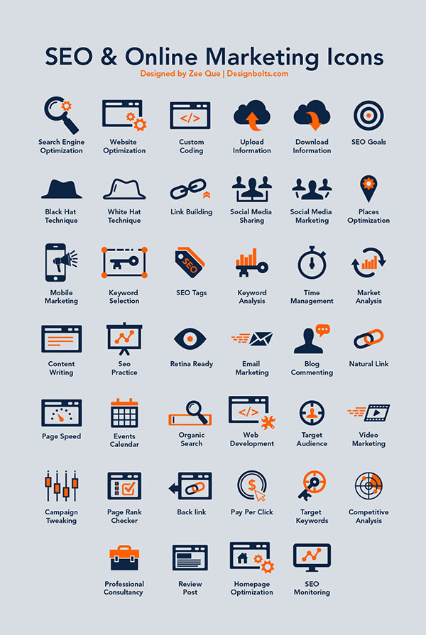 40 Free SEO & Online Marketing Icons