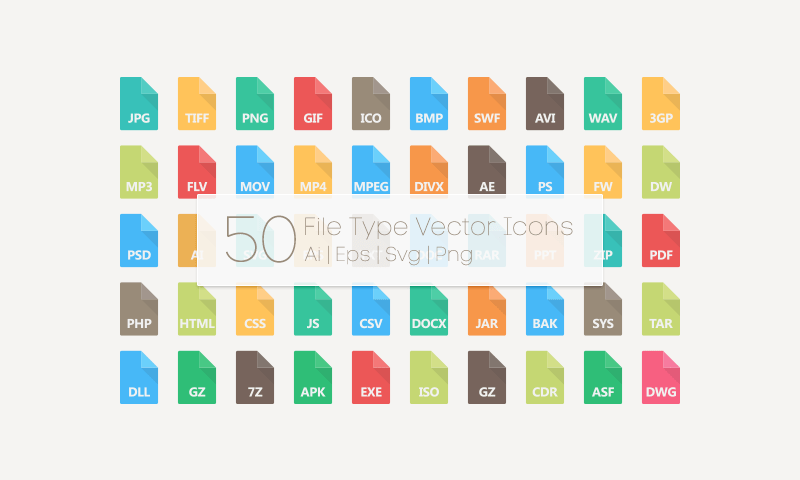 50 File Type Vector Icons
