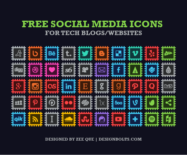 50 Free Social Media Icons for Tech Blogs