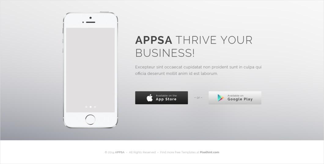 Appsa – Coming Soon PSD & HTML5 Iphone App Website Template