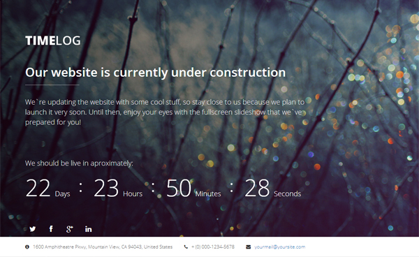 TimeLog – Free Coming Soon Template