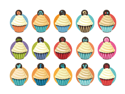 Cupcakes Social Media Icons