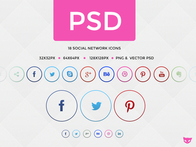 Social Network Buttons in Circle PSD freebie