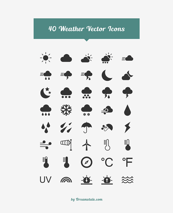 40 Weather Vector Icons
