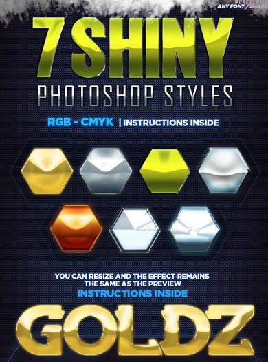 7 Shiny Photoshop Styles (PSD + ASL)