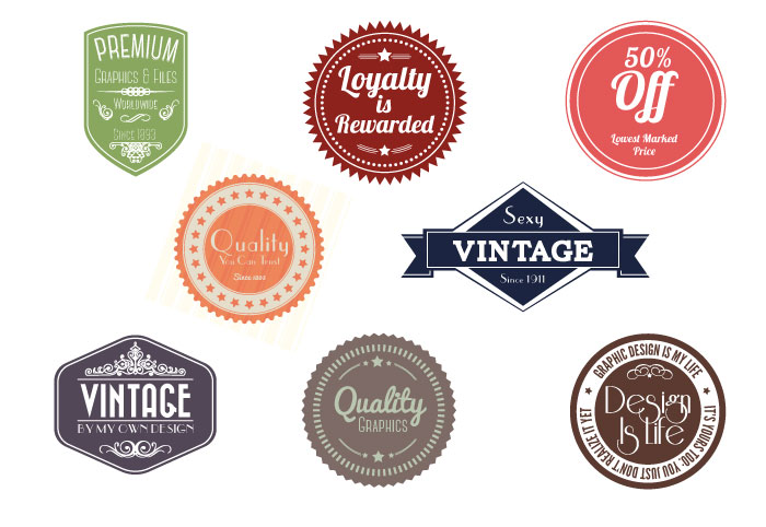 Free Vintage Badges (8 Total)