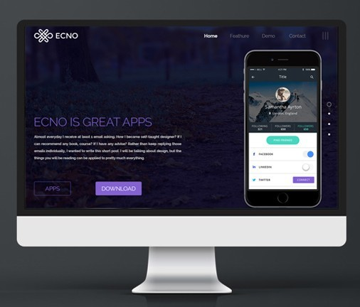 ONE PAGE APP PROMOTION FREE PSD