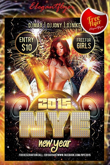 New Year - Free Club and Party Flyer PSD Template