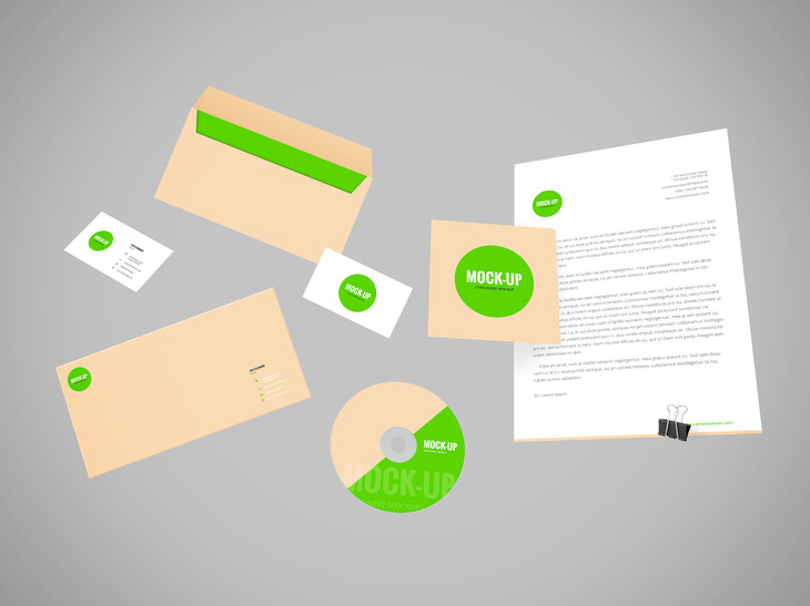 Flying Stationery PSD Mockup