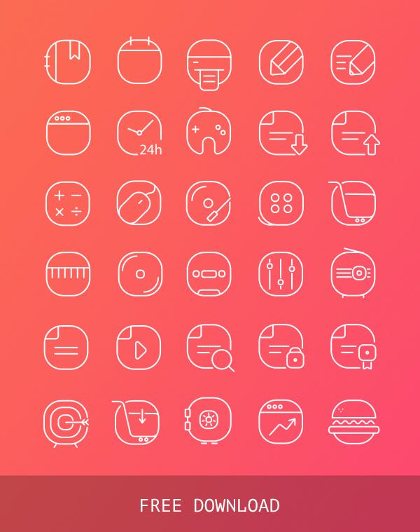 32 Free Vector Iine Icons