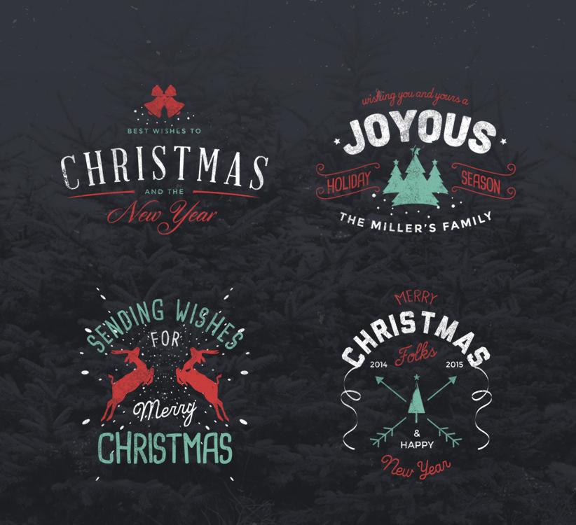4 Vintage Christmas Badges