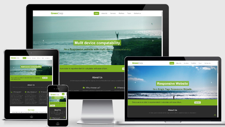 Green Corp-Flat free Responsive Mobile website