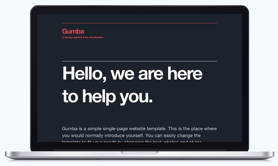 Gumba - Single Page Website Template